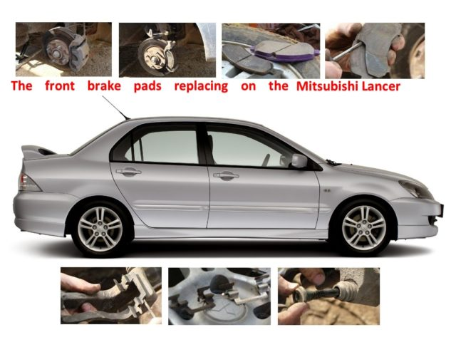 The front brake pads replacing on the Mitsubishi Lancer 9