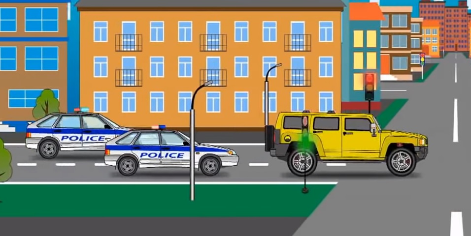 Emergency vehicles construction for Kids: police car