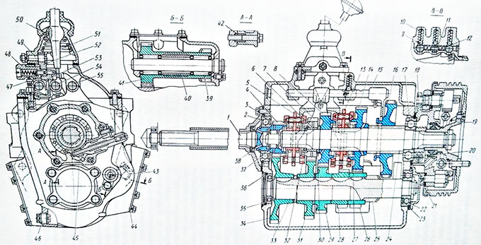Five speed gearbox construction