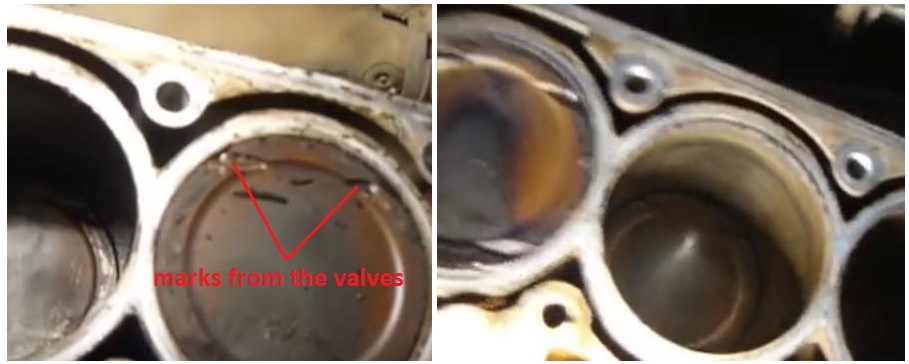 Marks from the valves on the piston
