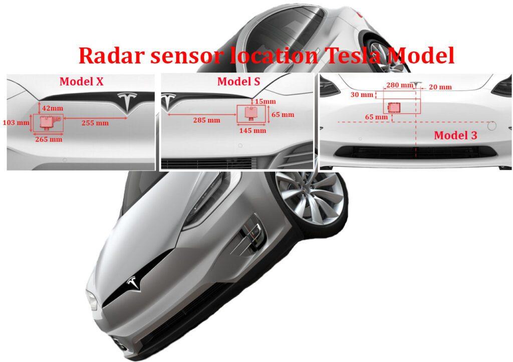 Radar sensor location Tesla Model